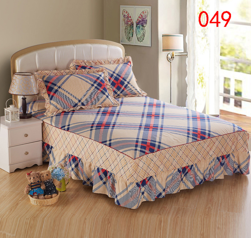 gray blue khaki plaid bed skirt mattress cover petticoat twin full queen king bed skirts. Black Bedroom Furniture Sets. Home Design Ideas