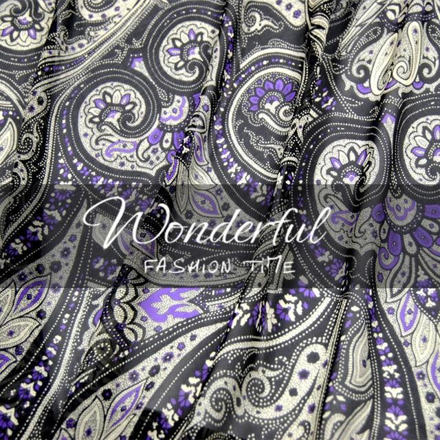 LEO et LIN Noir paisley 100% soie georgette robe chemise tissu printemps et  d  dce228146175