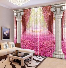 3D Bathroom Shower Curtain Roman Pillars Pink Flowers Curtains For Bedroom New Custom 3D Beautiful Blackout Shade Window(China)