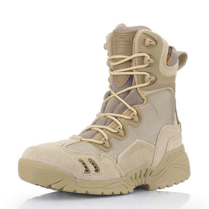Special Forces Desert Army Boots Spider Men High Top Combat Tactical Long Boots Military Lace Up Shoes White Black Leather