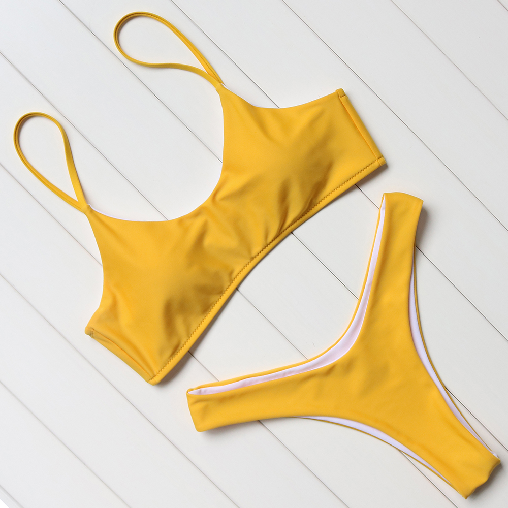OMKAGI Solid Brasilian Bikinis Push Up Polstret Bikinis Women Low Waist Bikini Set Badetøy Kvinner Badedrakt Bodysuit Beachwear