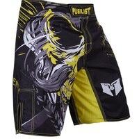 MMA Boxing Trunks Fitness Viking FIGHT SHORTS BLACK/YELLOW boxer shorts Size S M L,XL