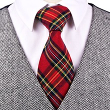 Checked Plaid Scottish Tartan Red Crimson Multicolor Green Yellow Blue Mens Ties Neckties Cotton Free Shipping