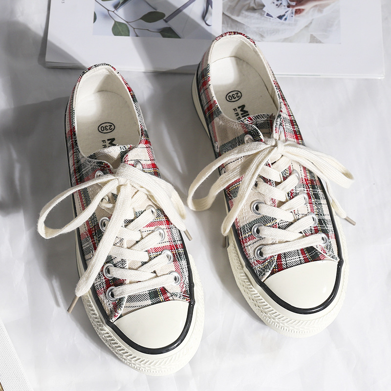 2019 New Plaid Women's Vulcanize Shoes Classic Canvas Shoes Ladies Sneakers Casual Low-cut Lace-up Fashion Sneakers