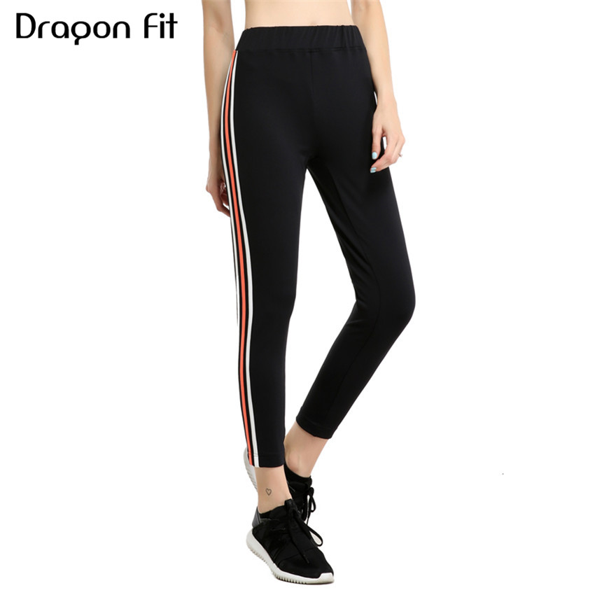 Dragon Fit Stripe Patchwork Elastic Fitness Pants Women Breathable Yoga Pants Running Quick Drying Compression Sport Leggings