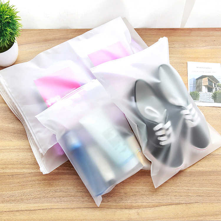Multi-Size Matte Clear Plastic Storage Bag Travel Bags Zip Lock Valve Slide Seal Packing Pouch Bags Clothes Organizer