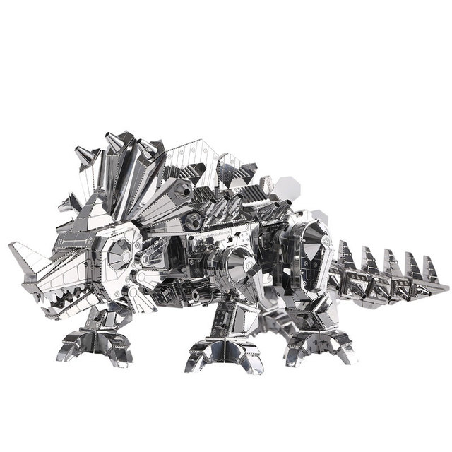 Piececool Metal 3D Rompecabezas de Dinosaurios de Construcción De Roca Láser BRICOLAJE cortar Modelo Divertido Regalo Juguetes Educativos Para Niños Adultos de Plata P062