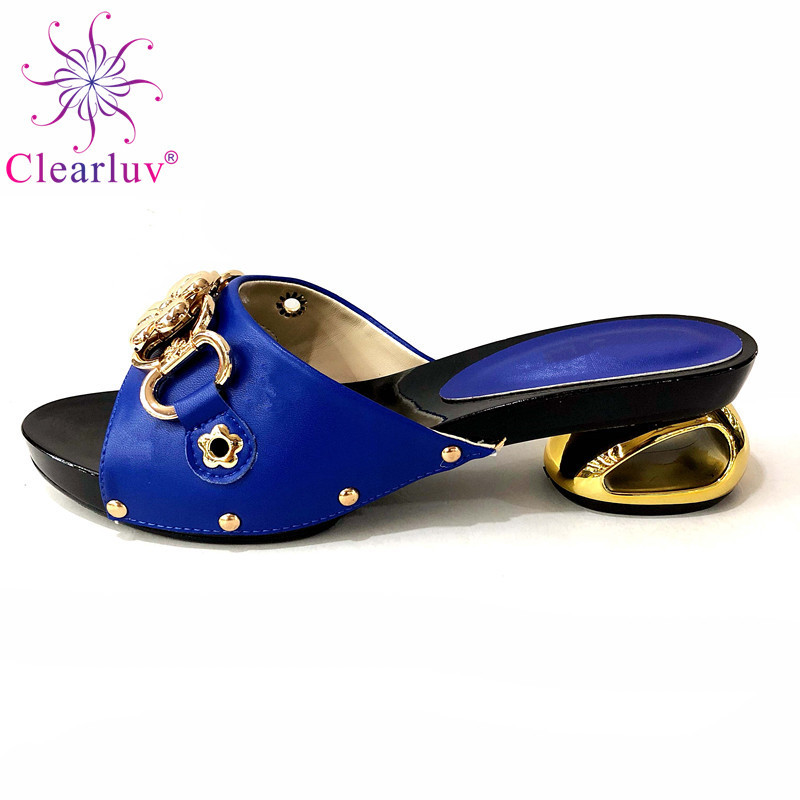 Italian Nigerian Party Shoes Without Bag Set Royal Blue Fashion Slipper Wedding African Shoes Not Matching Bag Set Women Shoes(China)