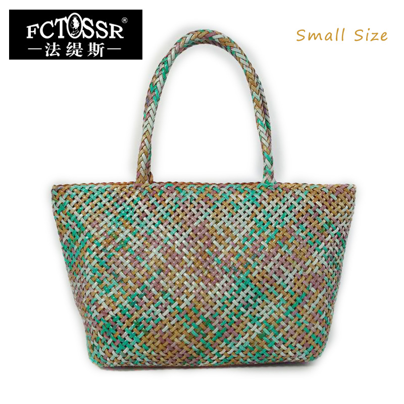 Summer Women Beach Bags Knitting Leather Top-handle Portable Ladies Handbag with Woven Leather Large Capacity Tote Bag woven bag with double handle