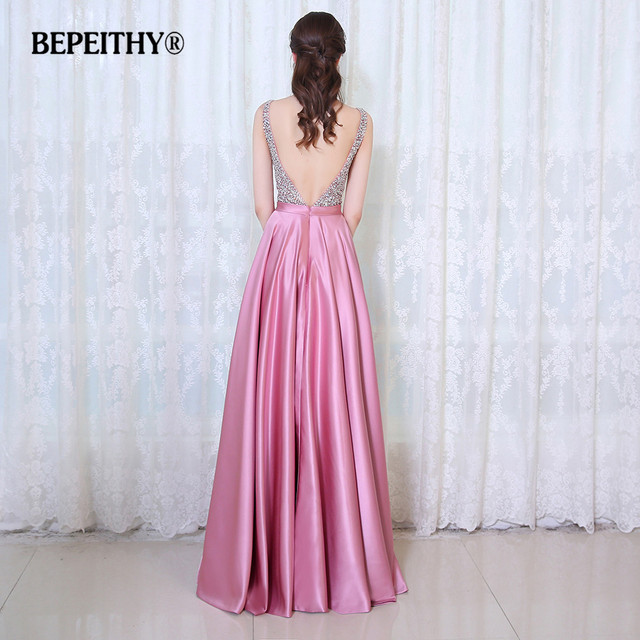 BEPEITHY V-Neck Beads Bodice Open Back A Line Long Evening Dress Party Elegant Vestido De Festa Fast Shipping Prom Gowns 1