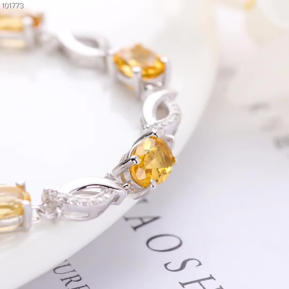 gemstone jewelry wholesale white 925 sterling silver natural yellow citrine crystal adjustable bracelet for women in Bracelets Bangles from Jewelry Accessories