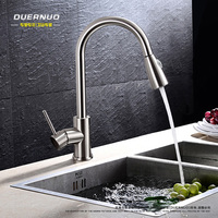 Copper Hot And Cold Pull Type Kitchen Faucet Rotating Retractable Belt Shower Vegetables Basin Sink Drawing