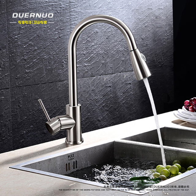 Copper hot and cold Pull out type kitchen faucet rotating ...