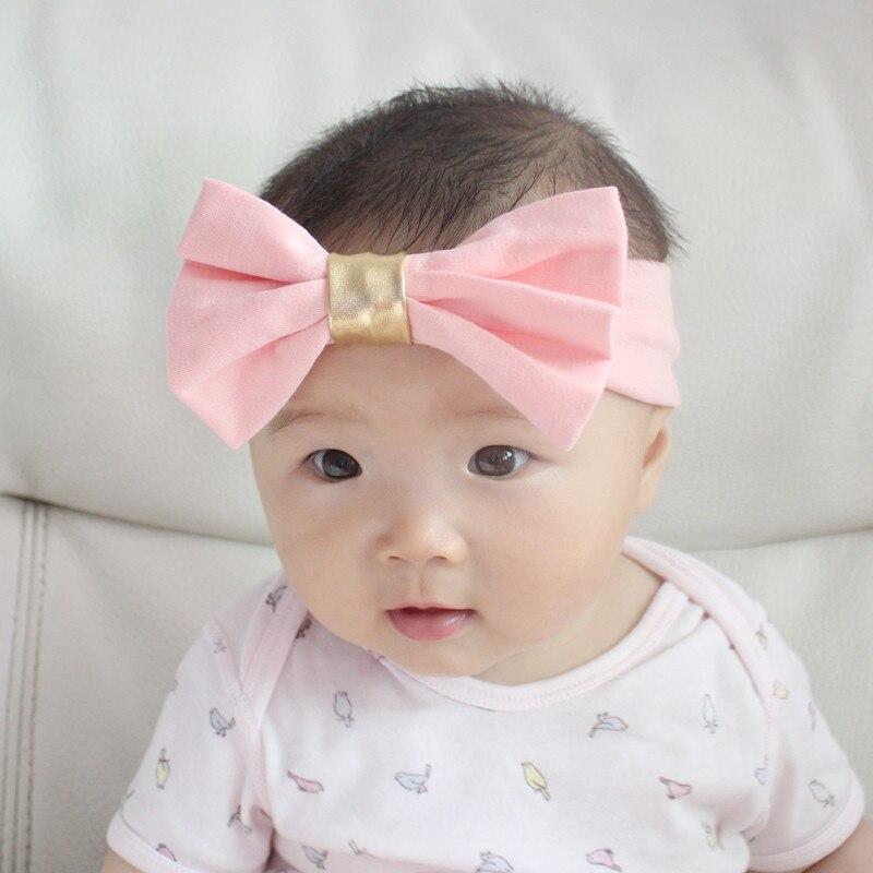 Качество девушки хлопка с большим бантом широкий головные уборы 13 Цветов удобные стрейч Hairbands сплошной Цвет эластичные повязки