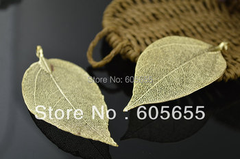 Gold Color Leaf Charms Pendant Made by Real Leaf Each one is unique 20 pc per lot Free Shipping фото