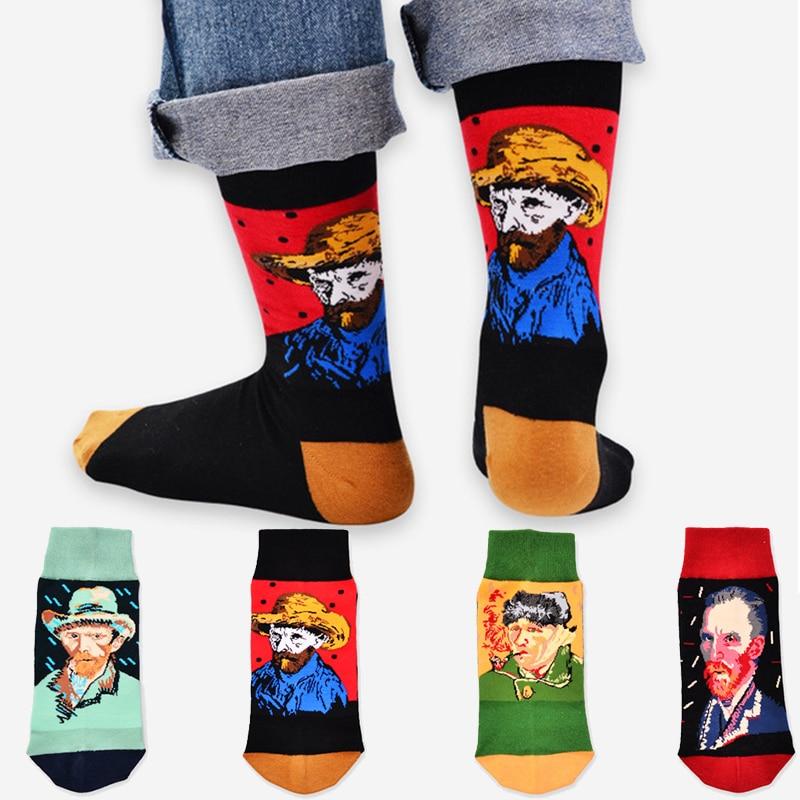 New Fashion Retro Art Men Socks Van Gogh Series Painting Vintage Art Socks Cotton Casual Business Socks Men Male