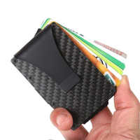 New Fashion Slim Carbon Fiber Credit Card Holder RFID Non-scan Metal Wallet Purse Male Carteira Masculina Billetera