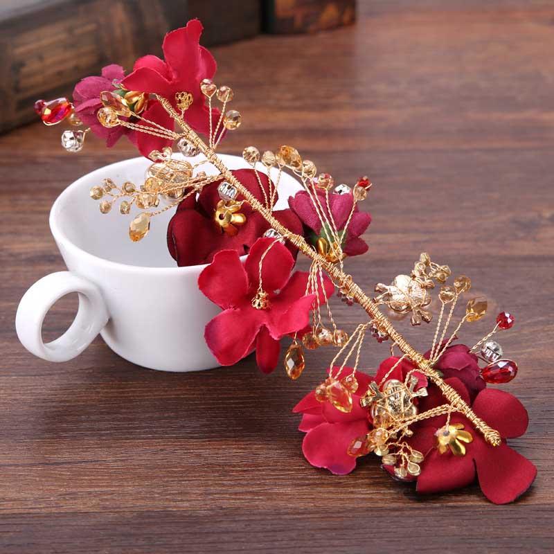 Women Fashion Red Lace Flowers Crystal Bride Barrettes Wedding Headpieces Headwear Hair Accessories BH