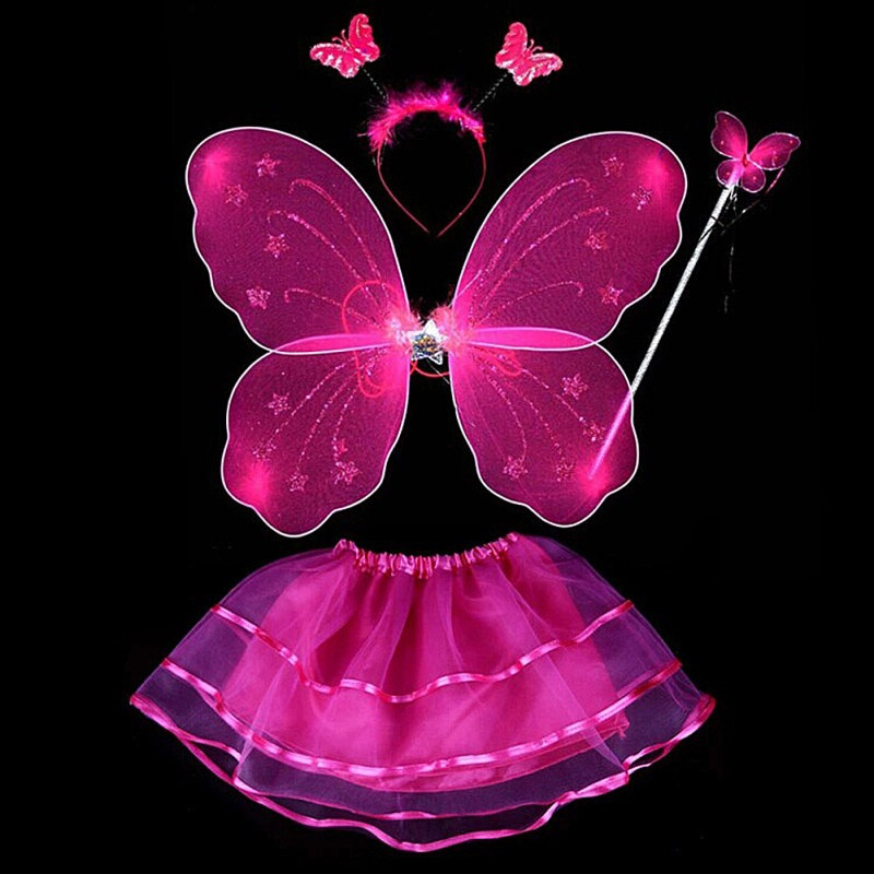 4Pcs Fairy Princess Kids Costume Sets Butterfly Wings Wand Headband Tutu Skirt 2019
