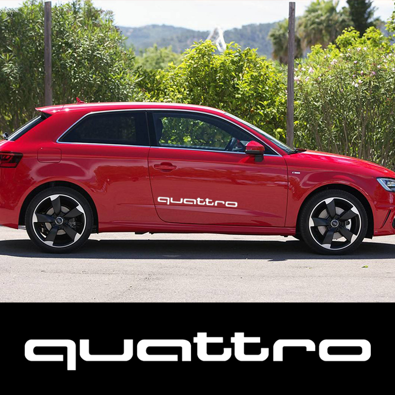 2x Car styling Oem sticker For Audi Quattro Vinyl Decal sticker Sport Racing emblem logo A4 S4 S3 S5 S6 TT S7 RS Car Accessories audi coupe quattro купить витебск