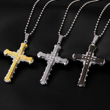 Vintage Male Crystal Necklaces Cross Pendant Choker Stainless Steel Pendant Necklace Jewelry Accessories For Men Necklace Aneis(China)