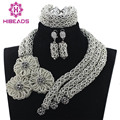 African Silver Beads Jewelry Sets Women Crystal Flower Jewellery Sets 2017 Women Costume Necklace Set Hot Free Shipping WD826