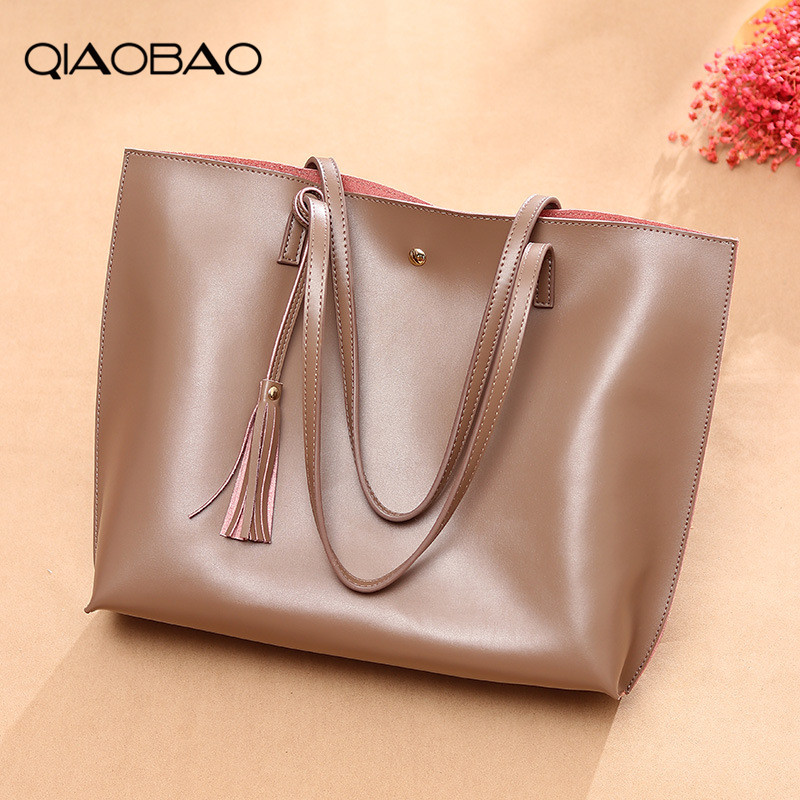 QIAOBAO Women Messenger Bags 100% Genuine Leather Casual Tassel Handbags Female Designer Bag Vintage Big Size Tote Shoulder Bag women bags genuine leather tote over shoulder sling messenger crossbody tote fringe tassel big luxury designer female handbags