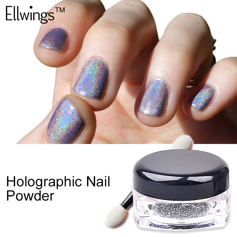 Ellwings 1g/Box Glitter Rainbow Pigments Dust Nail
