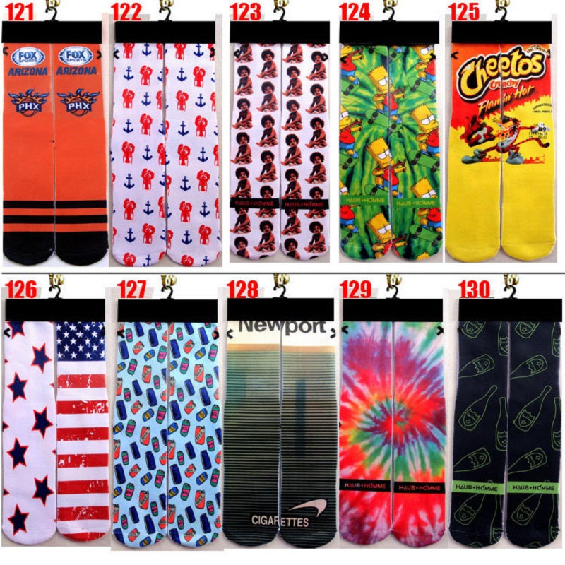2018 Calcetines Hombre Socks Men Up To Date Popular 3d Printer Odd Wink Bottom Thick Towel Socks Wholesale Mens Skateboard