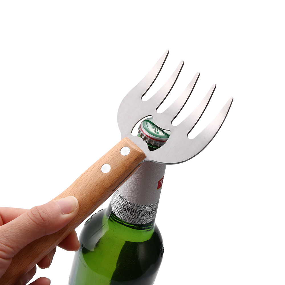 1pc New Wood Handle  For Wine Beer Bottle Opener Bear Claw Cooking Barbecue Tool Accessories 1