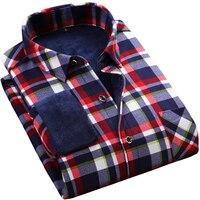 2017 Winter Casual Plaid Shirt Men Luxury Brand Shirt Male Long Sleeve Mens Dress Shirts Fleece