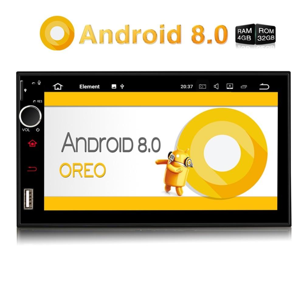 Citrouille Qcta-Core Voiture Stéréo 2 Din ''Android 8.0 Universel De Voiture Radio GPS Navigation 4 gb RAM 32 gb ROM Vidéo Audio Lecteur AUCUN DVD