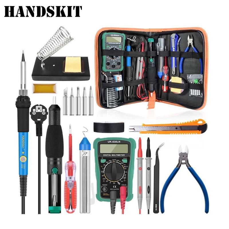 Handskit Temperatuur Elektrische Soldeerbout Kit 110 v 220 v 60 w Soldeerbout kit Met Multimeter Desoldeirng Pomp Lassen tool
