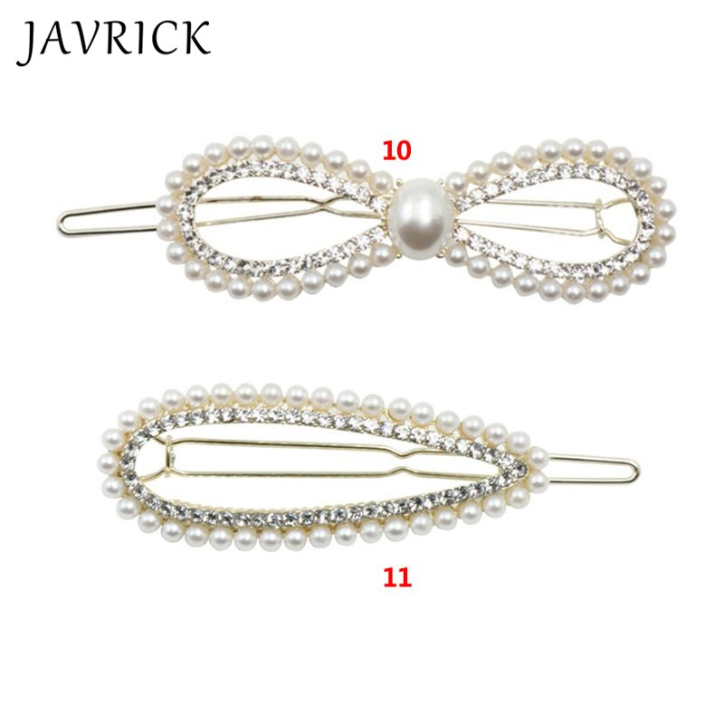 New Women Hairpin Artificial Pearl Rhinestone Hair Clip Temperament Lady Side Clips Girls Headdress in Hair Jewelry from Jewelry Accessories