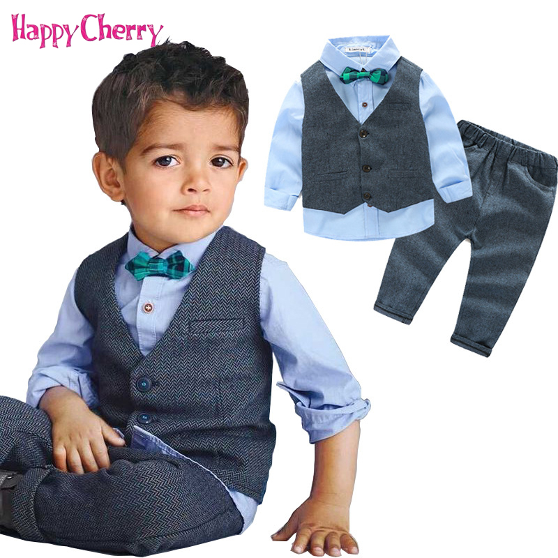 все цены на Fashion Boy Suits for Weddings Prom Party 2-10Years Children Bow Solid Suit Sets Boys Formal Vest Shirt Pants Classic Costume онлайн