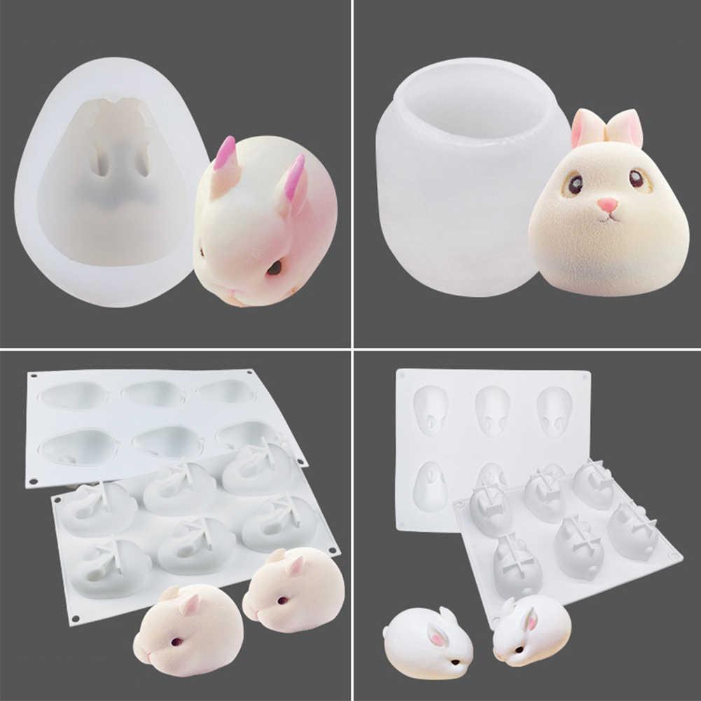 Инструменты для украшения гибкие силиконовые шоколадные вечерние кухонные принадлежности свеча помадка, кондитерские изделия 3D форма кролика форма для самостоятельного изготовления торта выпечки