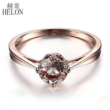 815dfbc90343 HELON impecable certificado redondo 6mm Rosa morganita anillo de compromiso  sólido 14 K oro rosa joyería fina elegante anillo de piedras preciosas de  boda