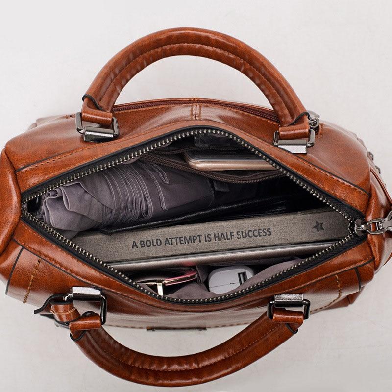 Image 5 - Famous Brand Oil Wax Leather Rivet Boston Bag Crossbody Bags for Women 2020 Tote Shouler Bag Luxury Handbags Women Bags DesignerTop-Handle Bags   -
