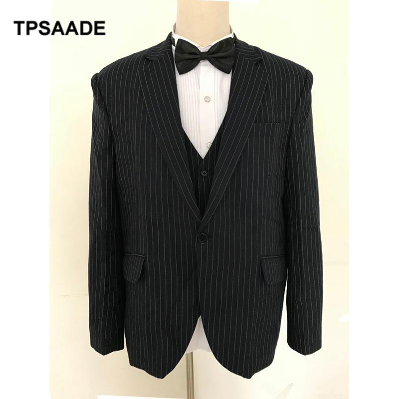(jacket+pants+vest) Fashional Men Suit Wedding Suit Men Tuxedos Navy Blue Stripes Slim Fit Prom Party Suit Ternos Masculino ...