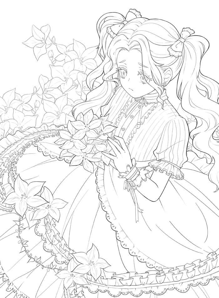 New Flower and Girl Coloring Book Secret Garden Style
