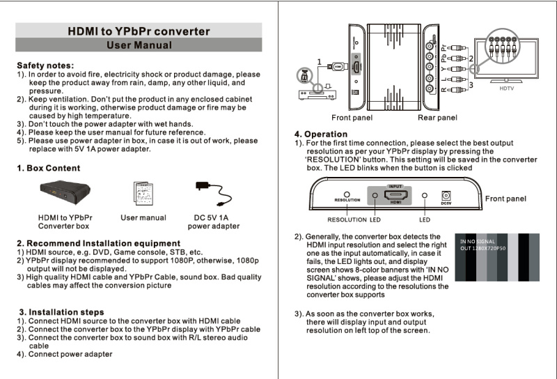 YPbPrRGB + RL audio to HDMI AV