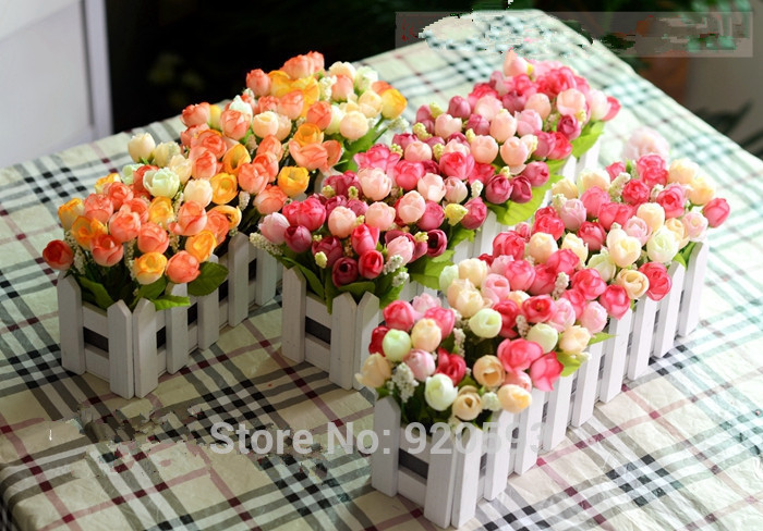 1 Set Wooden Fence Vase Flowers Rose And Daisy Artificial Flower