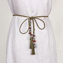 Vintage Braided Waist Rope Tassel Tie Strap Dress Waist Chain Vintage Harajuke Knit Belt Casual Blouse Thin Waistband Black Red