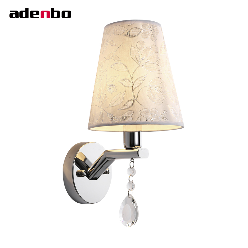 Modern Chrome E27 Sconce Wall Lamp Hallway Lights Bedside Home Lighting Wall Sconces With Fabric Shade For Bedroom Living Room