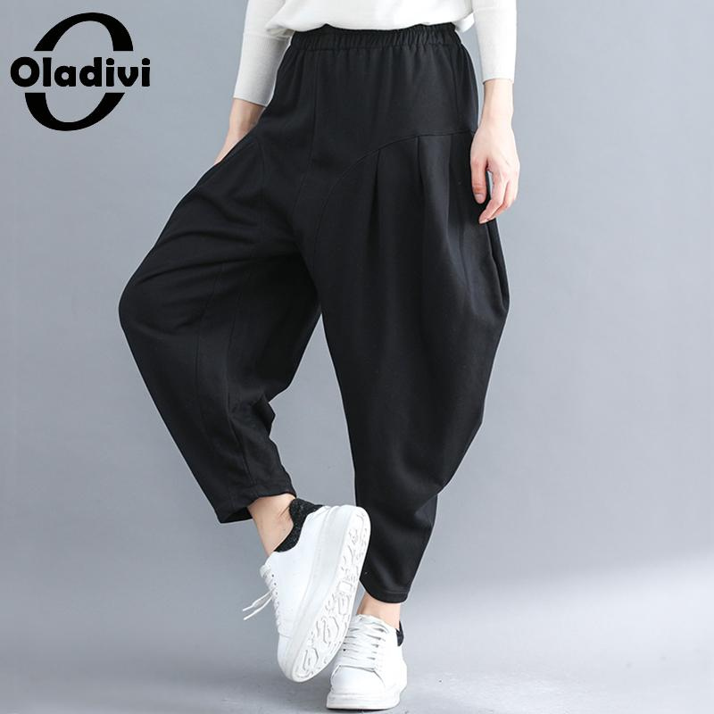Oladivi Brand Women Clothing Casual Ladies Pockets   Pant   Trousers Loose Black   Capris   Girl Pantalone Harem   Pants   Red 2018 New 3XL