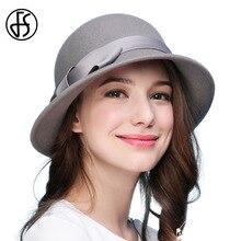 359fa117c4abf FS Retro pura lana sombrero de fieltro para mujer Otoño Invierno sombreros  clásicos con elegante corbata