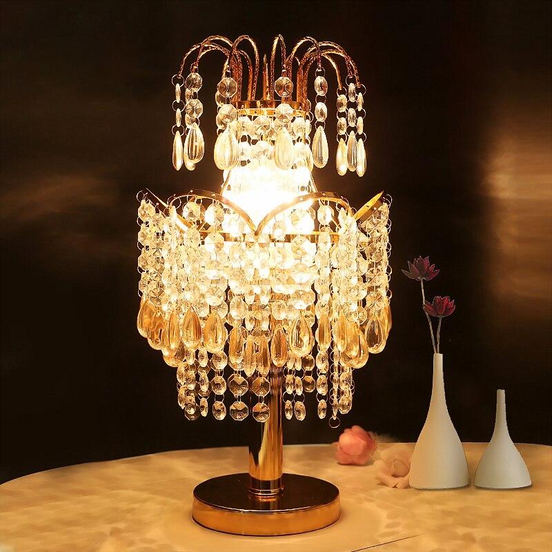 candeeiros de mesa de cristal de luxo europeu moderno criativo quente princesa quarto quarto lampada de