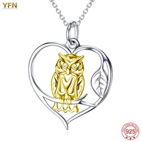 YFN Genius 925 Sterling Silver Vintage Gold Owl Love Heart Pendant Necklace For Christmas Men Jewelry