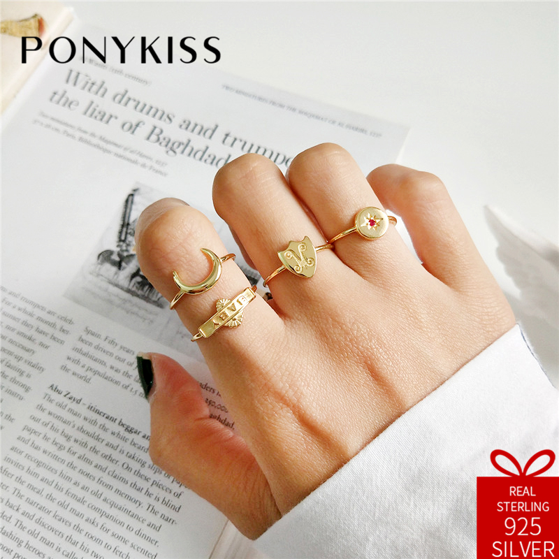PONYKISS Trendy 100% 925 Sterling Silver Adjustable Opening Shield Moon Star Letter Ring Jewelry Women Birthday Engagement Party