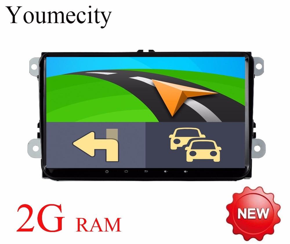 Youmecity 2016 Android 8.1 Voiture lecteur DVD Gps pour VW Tiguan Polo Golf 5 6 Radio wifi 3g/ 4g canbus Navigation carte FM RDS BT USB